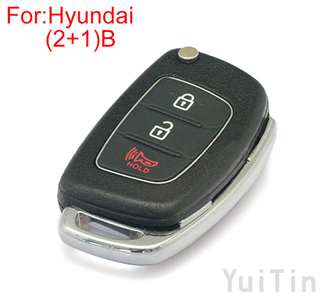 HYUNDAI folding remote shell ( 2+1) button HY22 blade