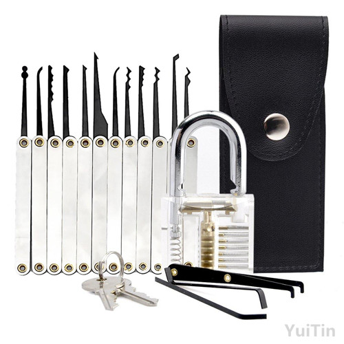 Transparent Cutaway 15Piece Lock Picks Set Padlock Practice Lock With Locksmith Tools for Lock Pick Training Trainer Practice